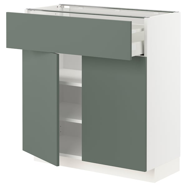 METOD / MAXIMERA Bänkskåp med låda/2 dörrar, vit/Bodarp grågrön, 80x37 cm