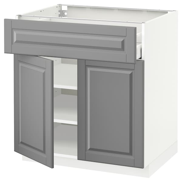 METOD / MAXIMERA Bänkskåp med låda/2 dörrar, vit/Bodbyn grå, 80x60 cm