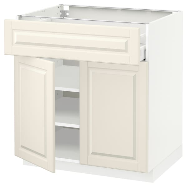 METOD / MAXIMERA Bänkskåp med låda/2 dörrar, vit/Bodbyn off-white, 80x60 cm