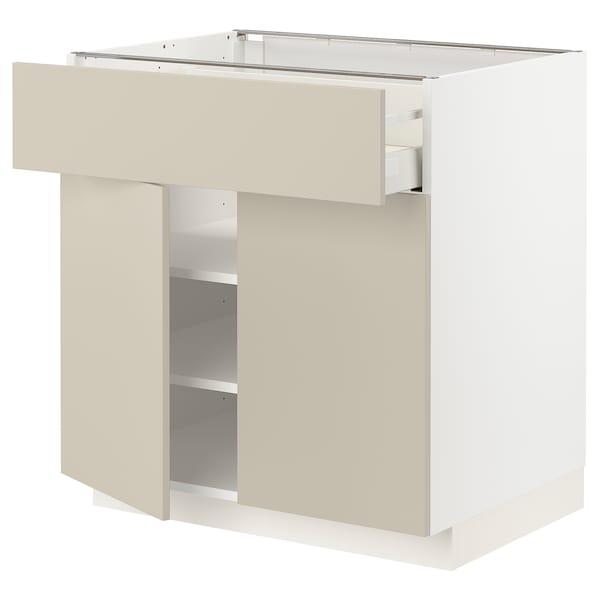 METOD / MAXIMERA Bänkskåp med låda/2 dörrar, vit/Havstorp beige, 80x60 cm