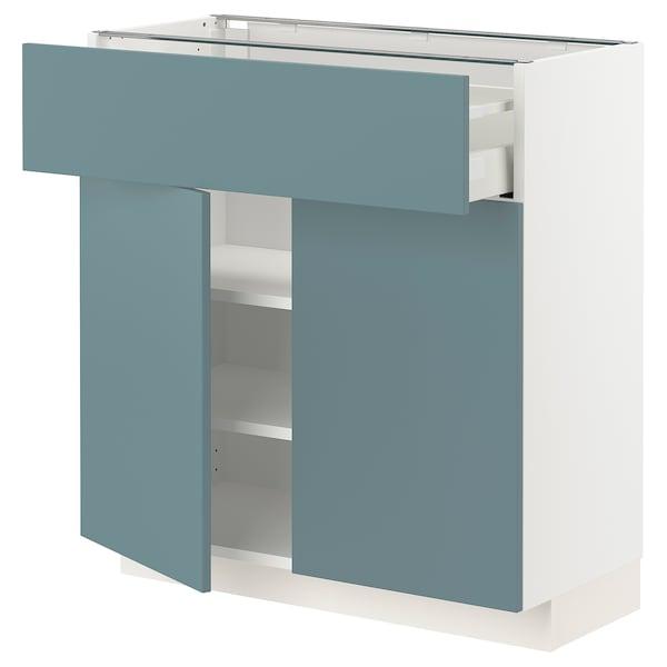 METOD / MAXIMERA Bänkskåp med låda/2 dörrar, vit/Havstorp turkos, 80x37 cm