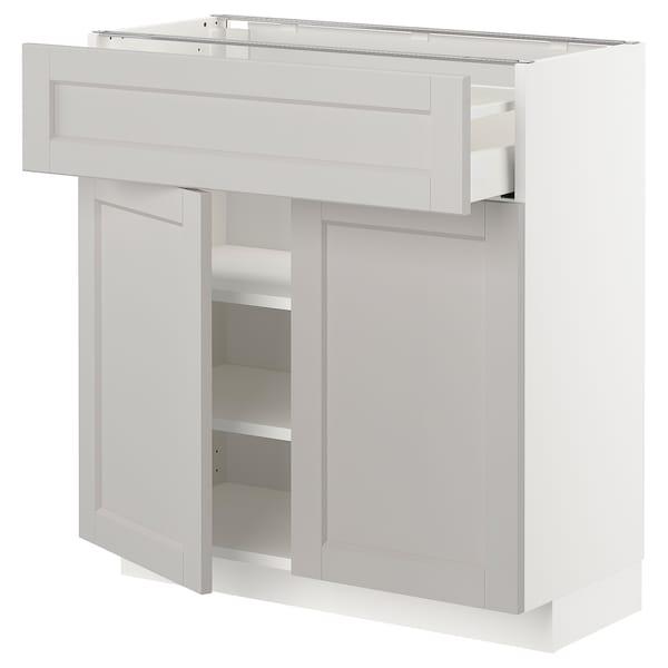 METOD / MAXIMERA Bänkskåp med låda/2 dörrar, vit/Lerhyttan ljusgrå, 80x37 cm