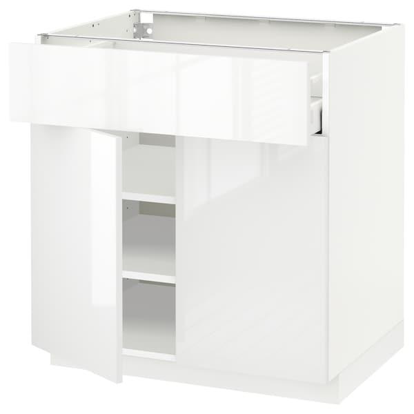 METOD / MAXIMERA Bänkskåp med låda/2 dörrar, vit/Ringhult vit, 80x60 cm