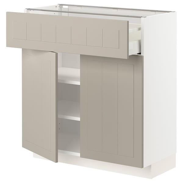 METOD / MAXIMERA Bänkskåp med låda/2 dörrar, vit/Stensund beige, 80x37 cm