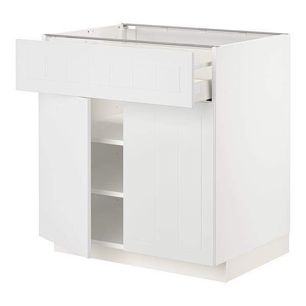 METOD / MAXIMERA Bänkskåp med låda/2 dörrar, vit/Stensund vit, 80x60 cm