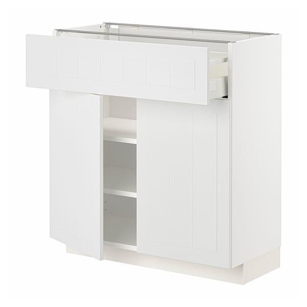 METOD / MAXIMERA Bänkskåp med låda/2 dörrar, vit/Stensund vit, 80x37 cm