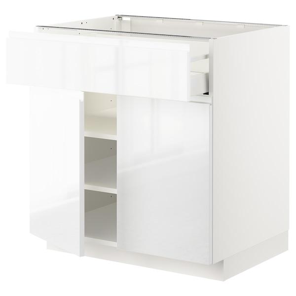 METOD / MAXIMERA Bänkskåp med låda/2 dörrar, vit/Voxtorp högglans/vit, 80x60 cm