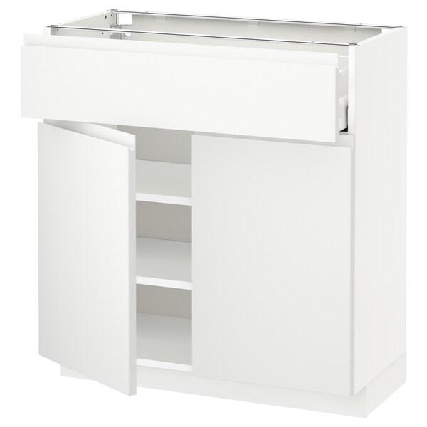 METOD / MAXIMERA Bänkskåp med låda/2 dörrar, vit/Voxtorp matt vit, 80x37 cm