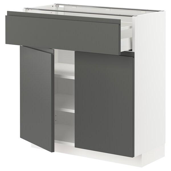 METOD / MAXIMERA Bänkskåp med låda/2 dörrar, vit/Voxtorp mörkgrå, 80x37 cm