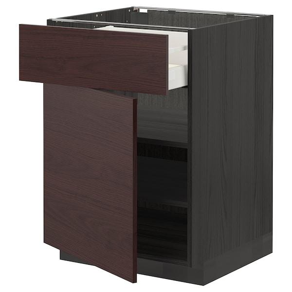 METOD / MAXIMERA Bänkskåp med låda/dörr, svart Askersund/mörkbrun askmönstrad, 60x60 cm