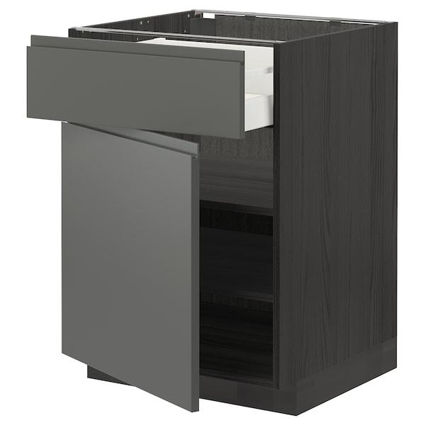 METOD / MAXIMERA Bänkskåp med låda/dörr, svart/Voxtorp mörkgrå, 60x60 cm