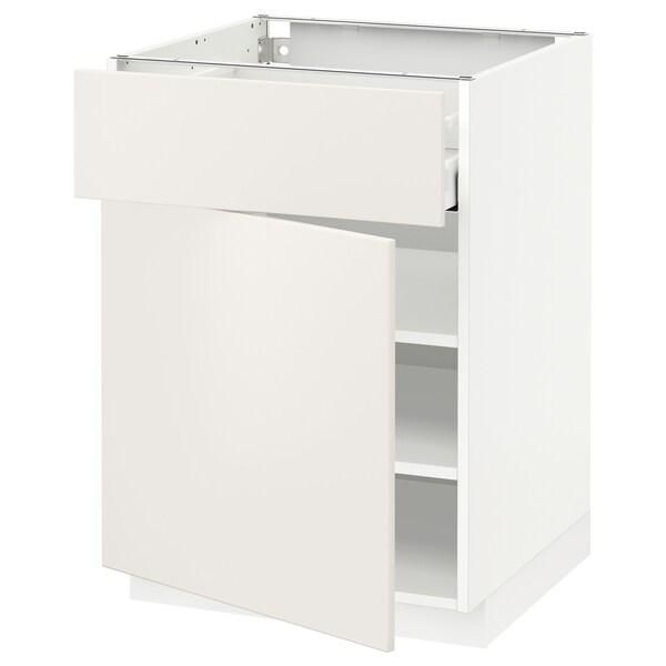 METOD / MAXIMERA Bänkskåp med låda/dörr, vit/Veddinge vit, 60x60 cm