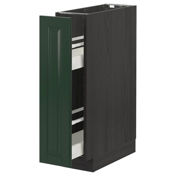 METOD / MAXIMERA Bänkskåp med utdragbar inredning, svart/Bodbyn mörkgrön, 20x60 cm