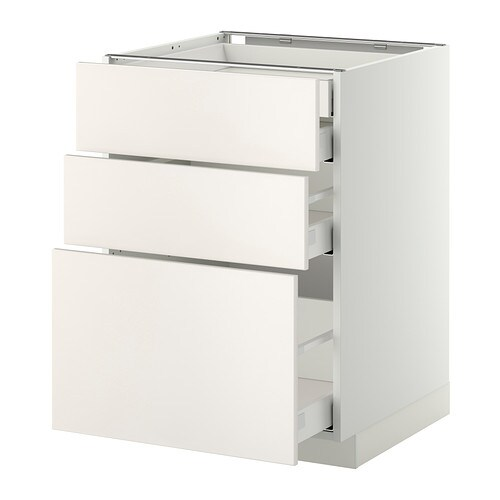 METOD MAXIMERA Bänksk 3 frnt 2 låg 1 md 1 hög låda vit, Veddinge vit, 60×60 cm IKEA