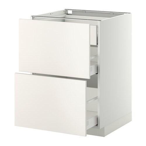 METOD MAXIMERA Bänksk 2 frntr 2 medium 1 hög låda vit, Veddinge vit, 60×60 cm IKEA