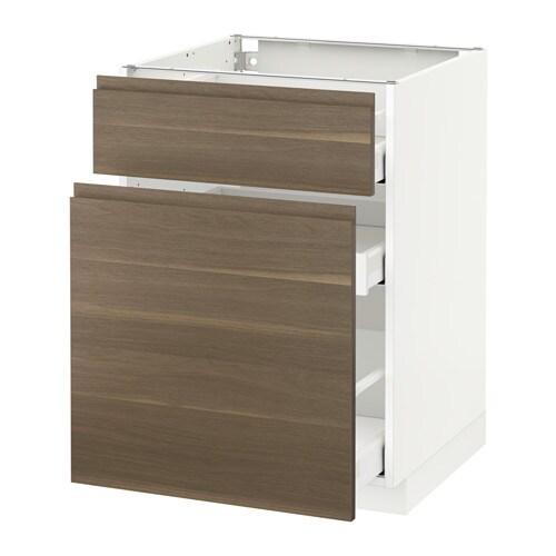 METOD MAXIMERA Bänkskåp med utdragsförvaring låda vit, Voxtorp valnötsmönstrad, 60×60 cm IKEA