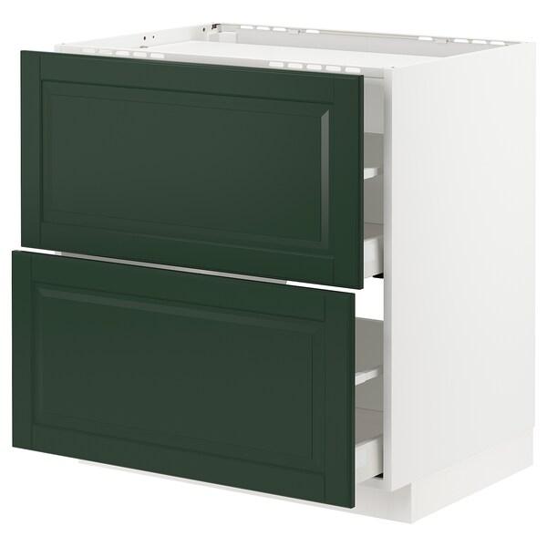 METOD / MAXIMERA bänkskåp för häll/2 frntr/2 lådor vit/Bodbyn mörkgrön 80.0 cm 61.8 cm 88.0 cm 60.0 cm 80.0 cm