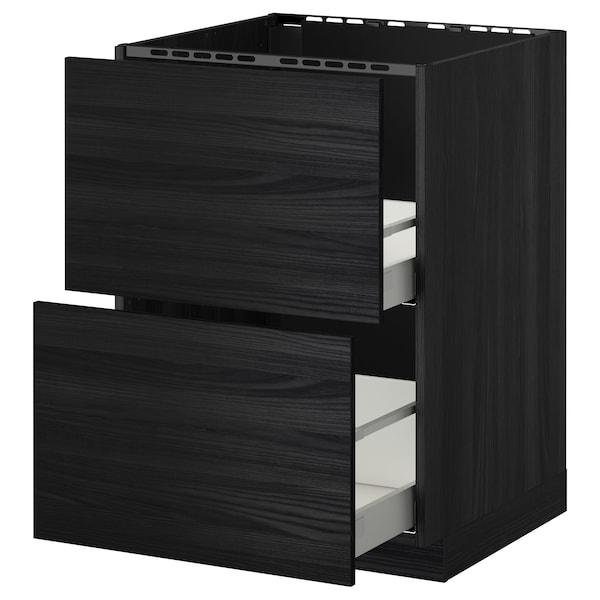 METOD / MAXIMERA bänkskåp f diskbänk+2 frntr/2 lådor svart/Tingsryd svart 60.0 cm 61.6 cm 88.0 cm 60.0 cm 80.0 cm