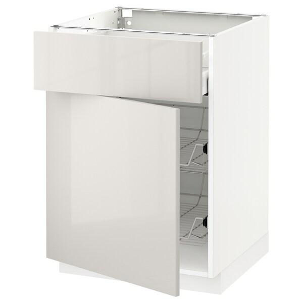 METOD / MAXIMERA bänkskåp m trådback/låda/dörr vit/Ringhult ljusgrå 60.0 cm 61.8 cm 88.0 cm 60.0 cm 80.0 cm