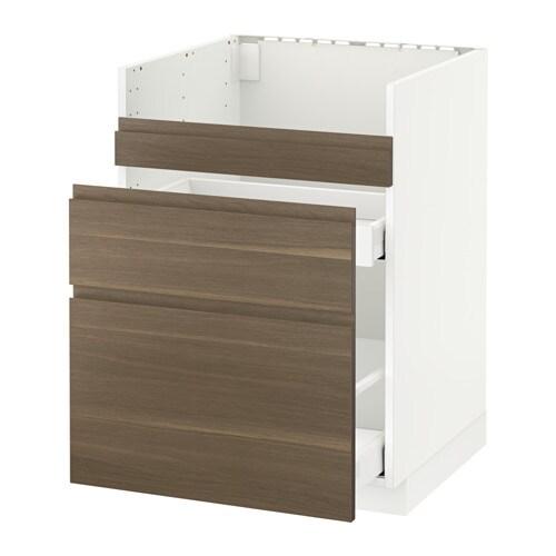 METOD MAXIMERA Bnksk f DOMSJÖ diskb 3 frntr 2 ldr vit, Voxtorp valnötsmönstrad, 60×60 cm IKEA
