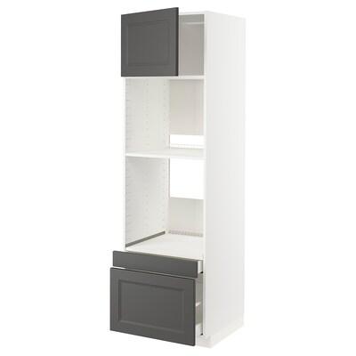 METOD / MAXIMERA högskåp f ugn/komb ugn m dr/2 lådor vit/Axstad mörkgrå 60.0 cm 61.9 cm 208.0 cm 60.0 cm 200.0 cm