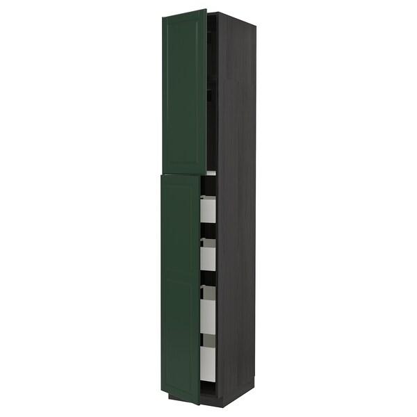 METOD / MAXIMERA högsk m 2 dörrar/4 lådor svart/Bodbyn mörkgrön 40.0 cm 61.9 cm 248.0 cm 60.0 cm 240.0 cm