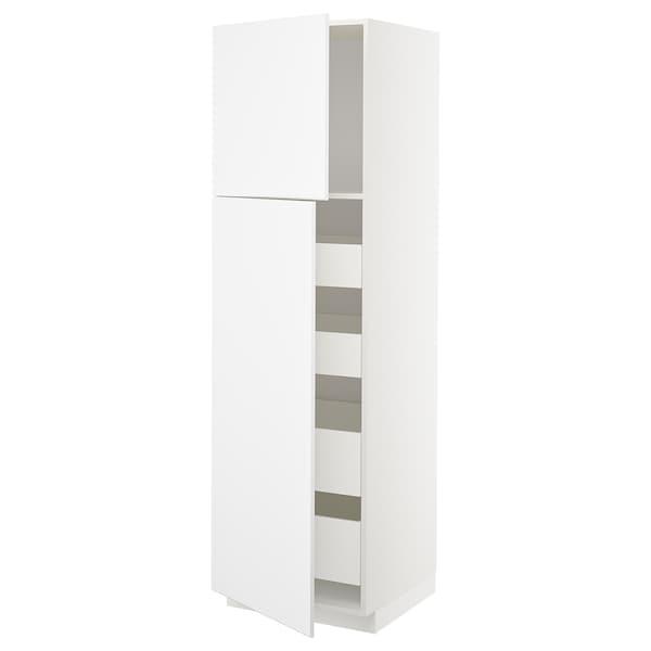 METOD / MAXIMERA högsk m 2 dörrar/4 lådor vit/Kungsbacka matt vit 60.0 cm 61.6 cm 208.0 cm 60.0 cm 200.0 cm
