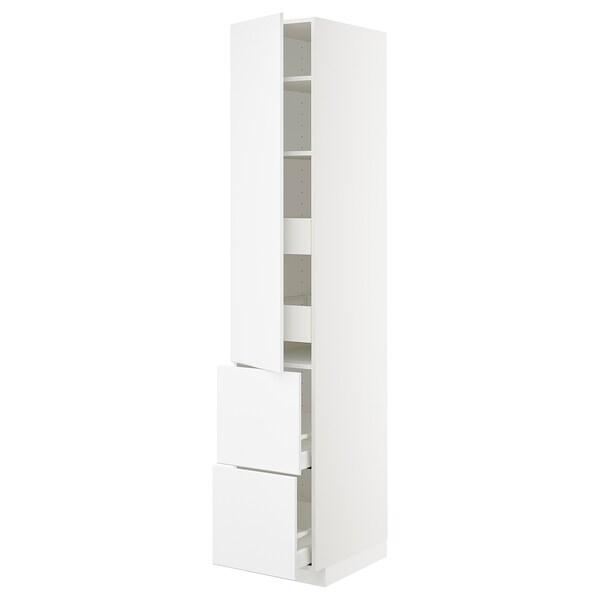 METOD / MAXIMERA högsk m hllpln/4 lådor/dörr/2 frntr vit/Kungsbacka matt vit 40.0 cm 61.6 cm 228.0 cm 60.0 cm 220.0 cm