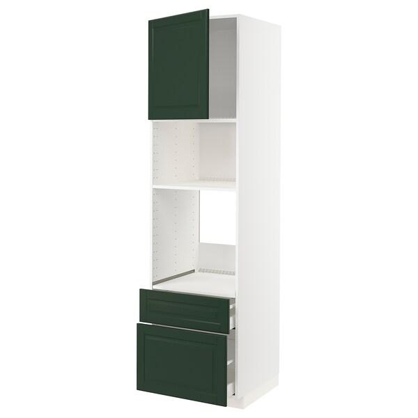 METOD / MAXIMERA högskåp f ugn/mikro m dörr/2 lådor vit/Bodbyn mörkgrön 60.0 cm 61.9 cm 228.0 cm 60.0 cm 220.0 cm