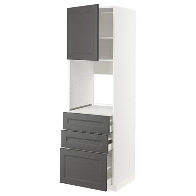 METOD / MAXIMERA högskåp för ugn + dörr/3 lådor vit/Axstad mörkgrå 60.0 cm 61.9 cm 208.0 cm 60.0 cm 200.0 cm