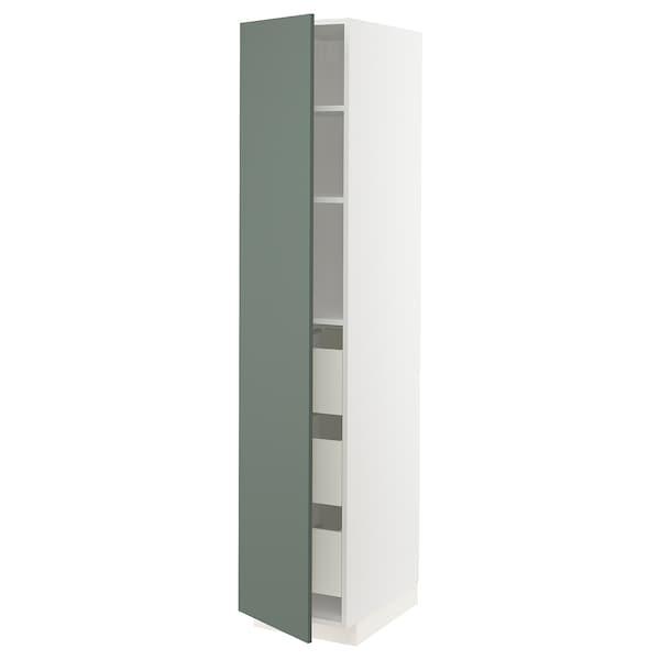 METOD / MAXIMERA högskåp med lådor vit/Bodarp grågrön 40.0 cm 61.6 cm 208.0 cm 60.0 cm 200.0 cm