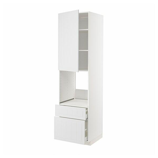 METOD / MAXIMERA Högsk f ugn m dr/2 fr/1 m/1 h låda, vit/Stensund vit, 60x60x220 cm