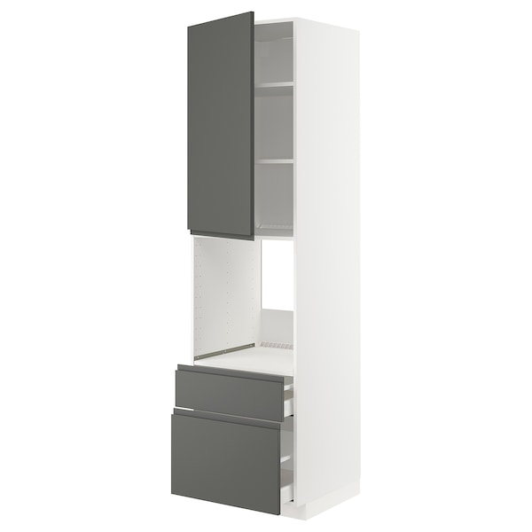 METOD / MAXIMERA Högsk f ugn m dr/2 fr/1 m/1 h låda, vit/Voxtorp mörkgrå, 60x60x220 cm