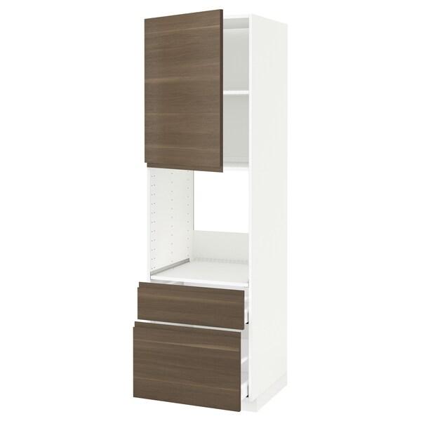 METOD / MAXIMERA Högsk f ugn m dr/2 fr/1 m/1 h låda, vit/Voxtorp valnötsmönstrad, 60x60x200 cm