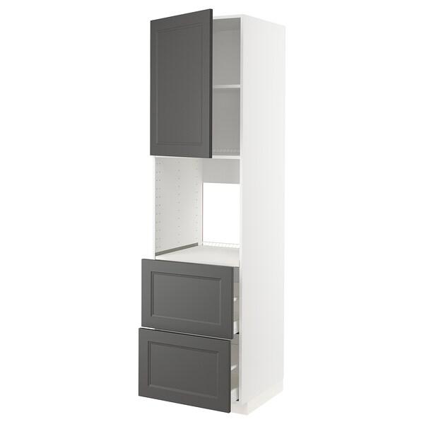 METOD / MAXIMERA Högsk f ugn m dr/2frnt/2 höga lådor, vit/Axstad mörkgrå, 60x60x220 cm