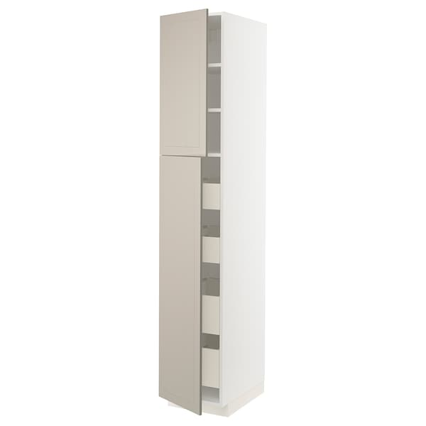 METOD / MAXIMERA Högsk m 2 dörrar/4 lådor, vit/Stensund beige, 40x60x220 cm