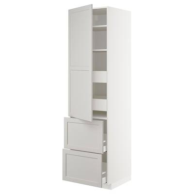 METOD / MAXIMERA Högsk m hllpln/4 lådor/dörr/2 frntr, vit/Lerhyttan ljusgrå, 60x60x220 cm
