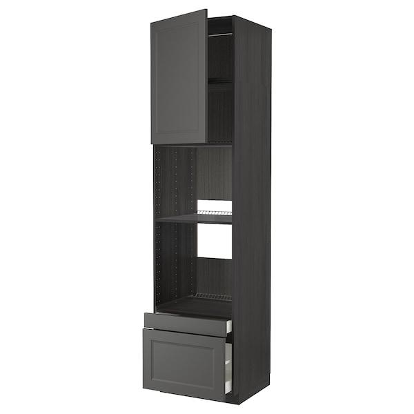 METOD / MAXIMERA Högskåp f ugn/komb ugn m dr/2 lådor, svart/Axstad mörkgrå, 60x60x240 cm