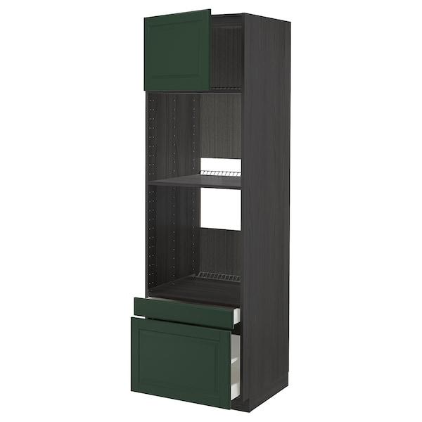METOD / MAXIMERA Högskåp f ugn/komb ugn m dr/2 lådor, svart/Bodbyn mörkgrön, 60x60x200 cm