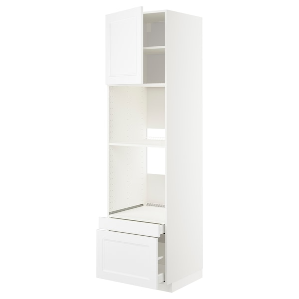 METOD / MAXIMERA Högskåp f ugn/komb ugn m dr/2 lådor, vit/Axstad matt vit, 60x60x220 cm