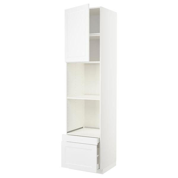 METOD / MAXIMERA Högskåp f ugn/komb ugn m dr/2 lådor, vit/Axstad matt vit, 60x60x240 cm