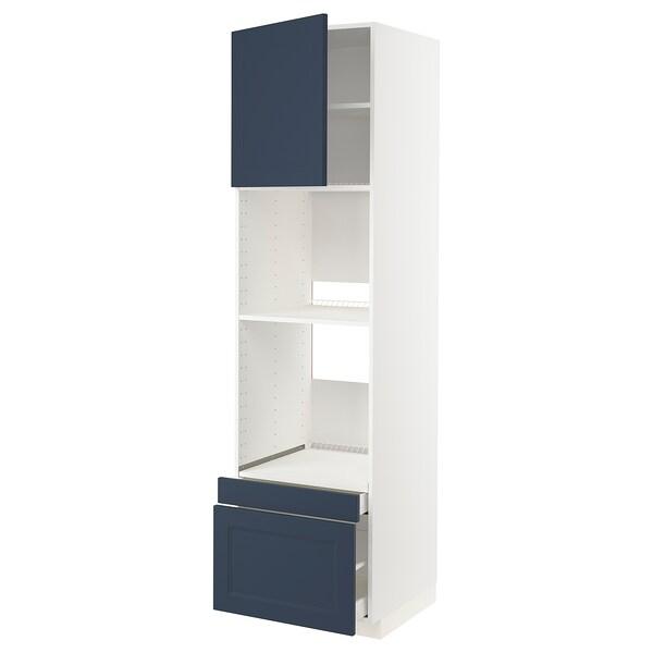 METOD / MAXIMERA Högskåp f ugn/komb ugn m dr/2 lådor, vit Axstad/matt yta blå, 60x60x220 cm