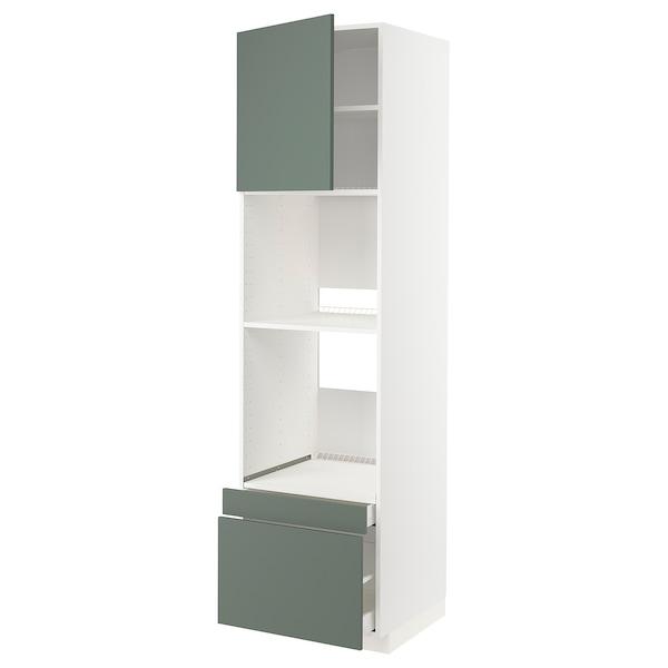 METOD / MAXIMERA Högskåp f ugn/komb ugn m dr/2 lådor, vit/Bodarp grågrön, 60x60x220 cm