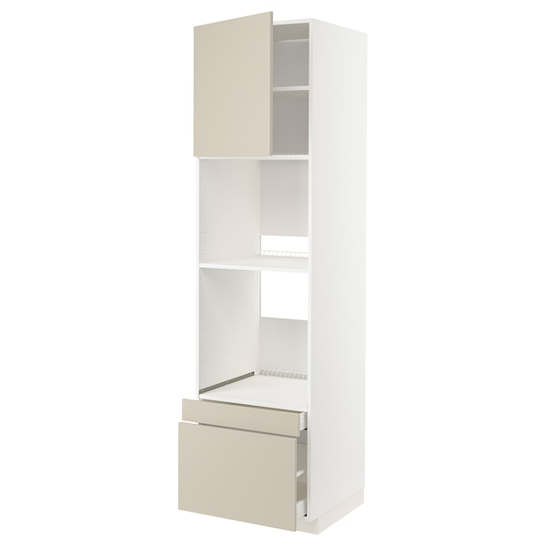 METOD / MAXIMERA Högskåp f ugn/komb ugn m dr/2 lådor, vit/Havstorp beige, 60x60x220 cm