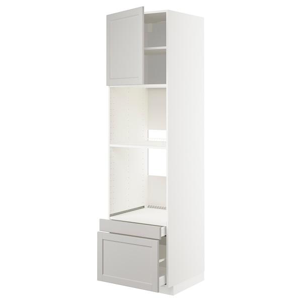 METOD / MAXIMERA Högskåp f ugn/komb ugn m dr/2 lådor, vit/Lerhyttan ljusgrå, 60x60x220 cm