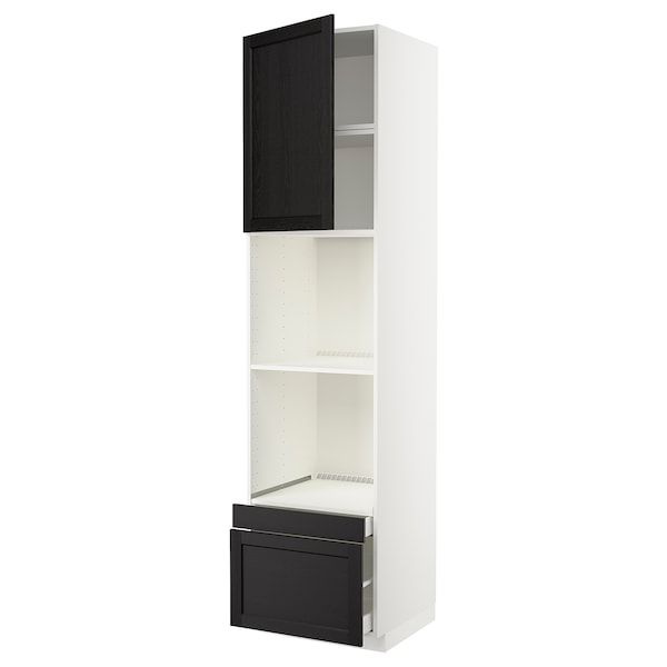 METOD / MAXIMERA Högskåp f ugn/komb ugn m dr/2 lådor, vit/Lerhyttan svartlaserad, 60x60x240 cm
