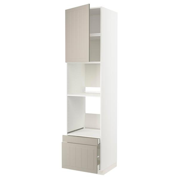METOD / MAXIMERA Högskåp f ugn/komb ugn m dr/2 lådor, vit/Stensund beige, 60x60x240 cm