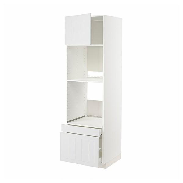 METOD / MAXIMERA Högskåp f ugn/komb ugn m dr/2 lådor, vit/Stensund vit, 60x60x200 cm