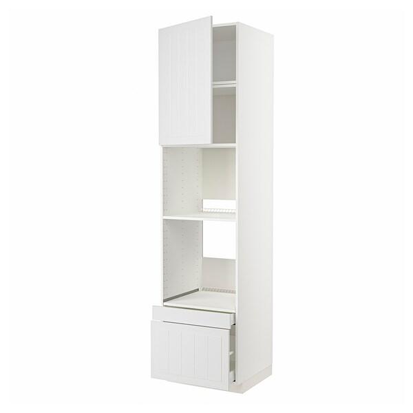 METOD / MAXIMERA Högskåp f ugn/komb ugn m dr/2 lådor, vit/Stensund vit, 60x60x240 cm