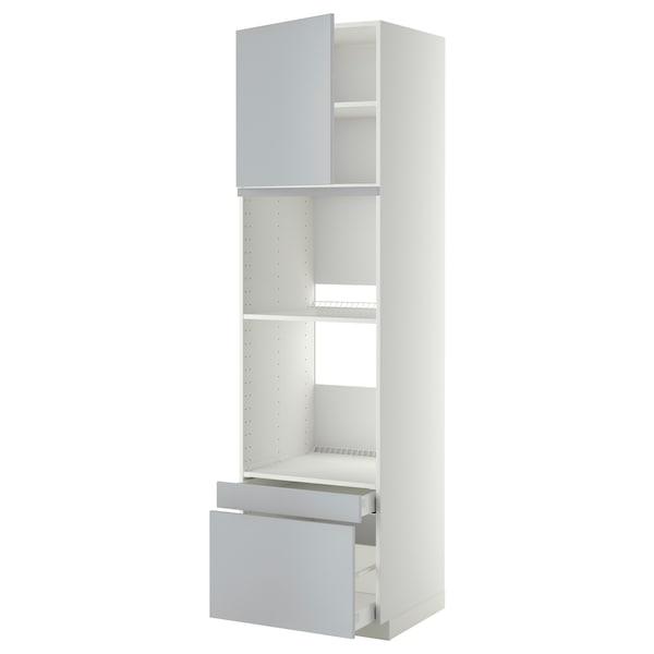 METOD / MAXIMERA Högskåp f ugn/komb ugn m dr/2 lådor, vit/Veddinge grå, 60x60x220 cm